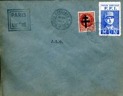 POSTE SPECIALE FFI 26 VIII 1944 Timbre Surchargé Croix De Lorraine + Vignette De Gaulle + Cachet PARIS LIBERE Cote 30€ - Guerra Del 1939-45