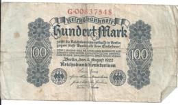 ALLEMAGNE 100 MARK 1922 VG+ P 75 - 100 Mark