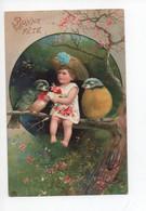 Tres  Belle  Carte  De  Petite  Fille  Sur  Une  Branche  Avec  Rouge - Gorge  Et  Mésange - 1900-1949