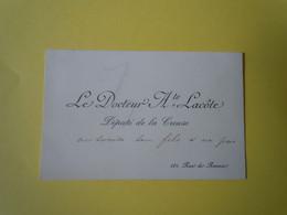Carte De Visite Autographe Auguste LACOTE (1838-1899) Député De La CREUSE - Autographs