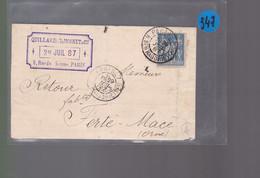 Un Timbre 15 C Type Sage Sur Une Lettre  Ets  :teintures Droguerie Quillardet  Moinet  Paris  29 Juillet 1887 Ferté Macé - 1877-1920: Semi-moderne Periode
