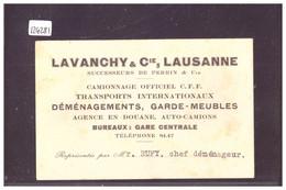 LAUSANNE - CARTE DE VISITE TRANSPORTS LAVANCHY & Cie - TB - VD Vaud