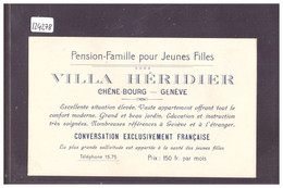 GENEVE - CHÊNE BOURG - CARTE DE VISITE PENSION DE FAMILLE VILLA HERIDIER - TB - GE Ginevra