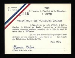 81 CASTRES  LAISSER PASSER  GENERAL DE GAULLE Février 1960 - Ohne Zuordnung