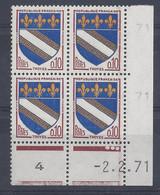BLASON TROYES N° 1353 - Bloc De 4 COIN DATE - NEUF SANS CHARNIERE - 2/2/71 3 Points - 1960-1969