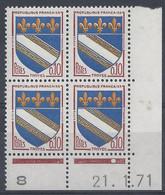 BLASON TROYES N° 1353 - Bloc De 4 COIN DATE - NEUF SANS CHARNIERE - 21/1/71 - 1960-1969