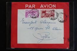 1942 MAROC LSC PAR AVION  CAD FES VILLE-NOUVELLE POUR LYON CACHET EXPEDITEUR AU VERSO - Storia Postale