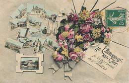 Chateauneuf Sur Cher Multi Vue Petites Cartes Postales Montage Colorisée  Vers Trompette Mariat Artillerie Coloniale - Chateauneuf Sur Cher