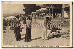 CPA Juan Les Pins Coin De Plage Terrasses Du Casino Adia - Juan-les-Pins