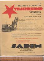 X2 Prospectus Publicitaire Tracteur Agricole Vigneron Et Forestier à Chenilles TH. SCHNEIDER SADIM - Agricoltura