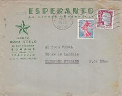 21557# LETTRE ESPERANTO Obl ROMANS SUR ISERE DROME 1962 CLERMONT FERRAND PUY DE DOME - Esperanto