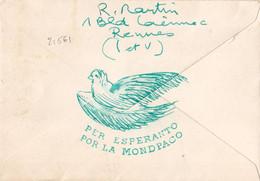 21561# DECARIS LETTRE ESPERANTO Obl RENNES ILLE ET VILAINE 1961 BRETAGNE - Esperanto