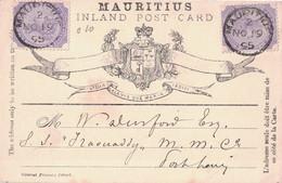 """MAURICE - CARTE - LE 19-11-1895 POUR UN PASSAGER DU PAQUEBOT """"IRAOUADY'' DES MESSAGERIES MARITIMES A FORT LOU - Mauritius (...-1967)"""