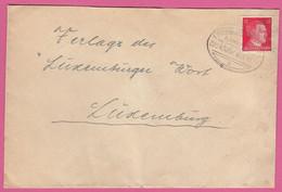 """BRIEF MIT BAHNPOSTSTEMPEL """"ETTELBRÜCK-PETINGEN , ZUG 4305"""" - 1940-1944 Duitse Bezetting"""