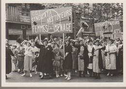 C.P.- PHOTO - C.G.T. - SYNDICAT NETTOYEURS - FEMMES DE MENAGE - MOUVEMENT OUVRIER APRES LES GREVES DE JUIN ET LES CONQUE - Sciopero