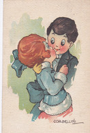 Illustrateur Italien Corbellini, Couple D 'enfant- CPA SUR CARTON FORT -  Circulée 1919  (lot Pat 125/1) - Andere Illustrators