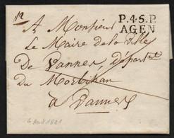 P45P AGEN, 24x11mm Sur Lettre Du 4 Aout 1821 Pour Vannes   -   SUP - 1801-1848: Precursori XIX