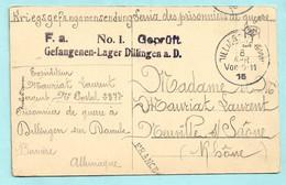 Carte 1916 D'un Sergent Français  Prisonnier De Guerre à Dilingen En Allemagne -DILLINGEN -Bavière -prisonnier De Guerre - Guerra 1914-18