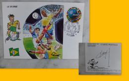 FOOT Mondial France 1998, Illustrateur Claude Coudray, Dédicacée (autographe) Ref 2284 ; Ref CP04 - Football
