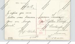 5000 KÖLN, POSTGESCHICHTE, Ansichtskarte Dezember 1918 Nach Frankreich, Englische `Feldpost Und Zensur - Koeln