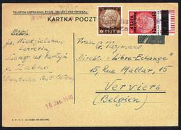 """Entier Postal Pologne Avec 2 Timbres D """"Deutsche Post OSTEN"""" - Oblitération Par Griffe """"Deutsche Post Osten Zabno"""" Gest. - Generalregierung"""