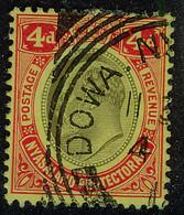 NYASALAND 1908 4d Fine Used SG 76 With DOWA Squared Circle Postmark - Nyassaland (1907-1953)