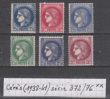 France Cérès (1938-41) Y/T Série 372/376 Neufs ** - Unused Stamps