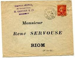Lettre  De 1915 Avec TP Semeuse  Surchargé N°146 Seul - 1877-1920: Periodo Semi Moderne