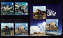 2017 Jersey Europa CEPT Castles Complete Set Of 4v And MS MNH** MiNr. 2097 - 2100 (Block 152) Bastion Grosnez, Elisabeth - Jersey