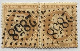 YT 28A Paire (°) 1863-70 Napoléon III Lauré, 10c Bistre Type I LGC 2858 Les Pieux Manche (40 + 18 Euros) – Ciel - 1863-1870 Napoleon III Gelauwerd