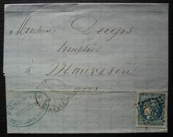 Toulouse 1871 Cérès émission De Bordeaux Sur Lettre De Richard Fils Tailleur - 1849-1876: Classic Period