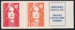 Année 1996 - N° 8 B (7 + 8 + Vignette) - Marianne Du Bicentenaire - TVP Rouge (N° 2874 + 1 F Orange (3009) + Vignette - Sellos Autoadhesivos
