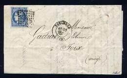Rare Lettre De Toulouse Pour Foix ( 1871 ) Avec Un N° 46B - 1870 Uitgave Van Bordeaux