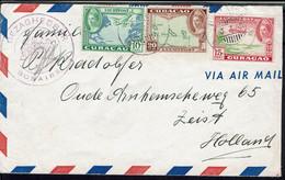 """Curaçao """"Gezaghebber Bonaire"""" Affranchissement Tricolore à 45 Cent Sur Enveloppe Du 3-7-46 Pour Zeist (Holl) B/TB - - Curaçao, Antilles Neérlandaises, Aruba"""