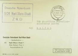 """Fern-Brf Mit ZKD-Kastenstpl """"Deutsche Notenbank 901 Karl-Marx-Stadt"""" Vom 12.8.66 An VEB Porzellanmanufaktur Meißen - Service"""