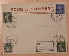 Enveloppe Avec Timbres Oblitération Foire De Chambéry Aviation 1936 - Gedenkstempel