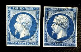 14A - 20c Bleu Empire ND - 2 Exemplaires Nuances Différentes -  Oblitéré S - 1853-1860 Napoléon III.