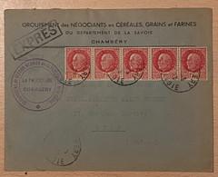 Enveloppe Par Exprès Avec Timbres Type Pétain Oblitération Chambéry 1942 Meuniers Céréales Grains Et Farines - 1921-1960: Modern Period