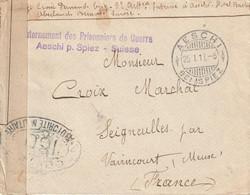 WW1 INTERNEMENT DES PRISONNIERS DE GUERRE AESCHI BEI SPIEZ Pour  Seigneules Meuse   25 1 17 CENSURE - Zonder Classificatie