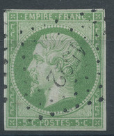 Lot N°59259   Variété/n°12, Oblit PC 1522 Hondschoote, Nord (57), Ni Pli, Ni Clair, Bonnes Marges, Fond Ligné Vertical - 1853-1860 Napoléon III.