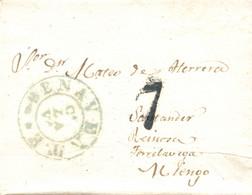 D.P. 14. 1838. Carta De Benavente A Torrelavega. Marca Nº 8A Y Porteo. Muy Bonita. - ...-1850 Vorphilatelie