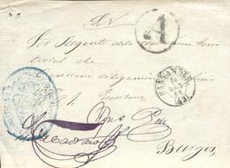 """Frontal Del S.N. Circulado De Santander A Brugos, Año 1865. Marca """"A"""" De Abono Y Del Juzgado. - Briefe U. Dokumente"""