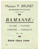 Publicité Prospectus De Maison P. Brunet à Bussière-Poitevine (87) Ramasse Plume, Papier, Chiffons, Ferraille - Pubblicitari