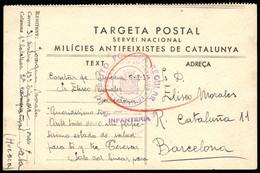 """Preciosa Tarjeta De Campaña """"Milicies Antifeixistes De Catalunya"""", Enviada Desde El Frente A Barcelona. Marca De Censura - 1931-50 Cartas"""