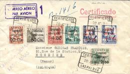 Ø 23 Y 25/30 En Carta Certificada, Circulada A Bélgica, El 20/8/37. Preciosa Y Rara. - Nationalist Issues