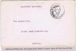 """Ireland Galway 1923 Free Mail To The Irish Land Commission BALLINASLOE 9 OC 23 Superscribed """"Saorstat Eireann"""" - Ohne Zuordnung"""