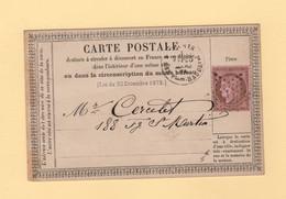 Etoile De Paris 7 - Carte Precurseur De Paris Pour Paris - 1873 - 1849-1876: Klassieke Periode