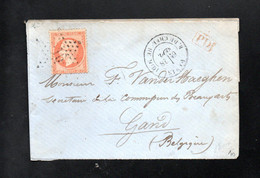 LETTRE No 23 DE PARIS POUR GAND(BELGIQUE) - ETOILE 10 + CACHET R. DU CHERCHE MIDI  DU 28 MARS ? - 1849-1876: Periodo Classico
