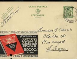 """Publibel Obl. N° 206 ( Concours Nestlé """"Sports"""" ) Tennis - Golf - Cyclisme -  Obl. Bxl (Nord) 24/03/1936 - Publibels"""