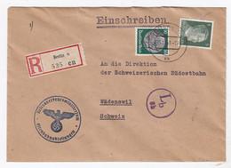 Deutsches Reich R-Ministeriums-Brief An Die Südostbahn In Wädenswil Schweiz Mit Zensur - Lettere
